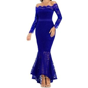 Stunning Blue Lace Off The Shoulder Mermaid Dress